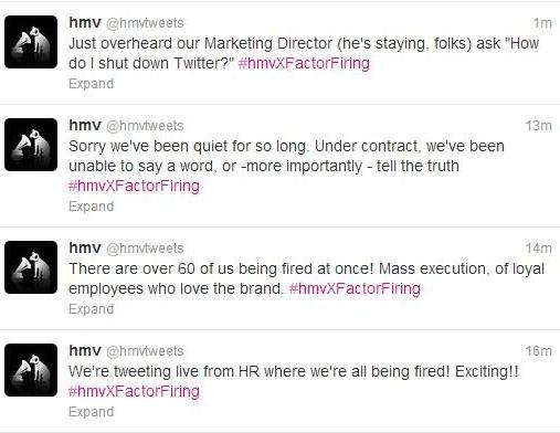 HMV intern tweets funny