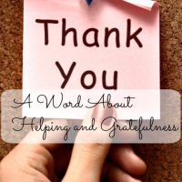 A word about helping and gratefulness